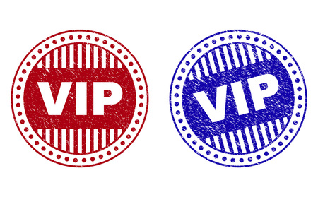 Grunge VIP round stamp seals isolated on a white background. Round seals with grunge texture in red and blue colors. Vector rubber imitation of VIP title inside circle form with stripes.