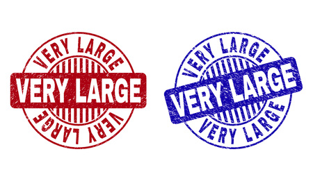 Grunge VERY LARGE round stamp seals isolated on a white background. Round seals with grunge texture in red and blue colors. Vector rubber imitation of VERY LARGE tag inside circle form with stripes.