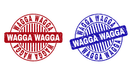 Grunge WAGGA round stamp seals isolated on a white background. Round seals with grunge texture in red and blue colors. Vector rubber overlay of WAGGA tag inside circle form with stripes.