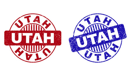 Grunge UTAH round stamp seals isolated on a white background. Round seals with grunge texture in red and blue colors. Vector rubber watermark of UTAH text inside circle form with stripes.