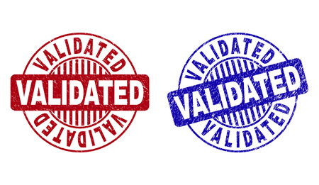 Grunge VALIDATED round stamp seals isolated on a white background. Round seals with grunge texture in red and blue colors. Vector rubber overlay of VALIDATED caption inside circle form with stripes. Illustration