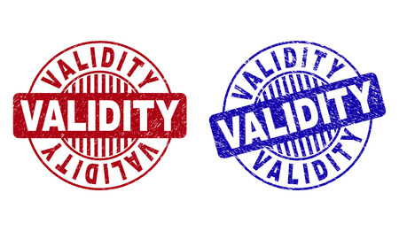 Grunge VALIDITY round stamp seals isolated on a white background. Round seals with grunge texture in red and blue colors. Vector rubber overlay of VALIDITY label inside circle form with stripes. Illustration