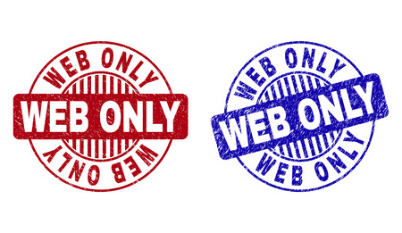 Grunge WEB ONLY round stamp seals isolated on a white background. Round seals with grunge texture in red and blue colors. Vector rubber watermark of WEB ONLY caption inside circle form with stripes.