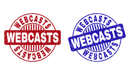 Grunge WEBCASTS round stamp seals isolated on a white background. Round seals with grunge texture in red and blue colors. Vector rubber imprint of WEBCASTS title inside circle form with stripes.