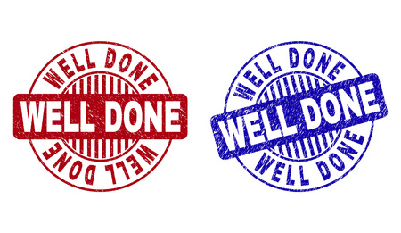 Grunge WELL DONE round stamp seals isolated on a white background. Round seals with grunge texture in red and blue colors. Vector rubber watermark of WELL DONE caption inside circle form with stripes.