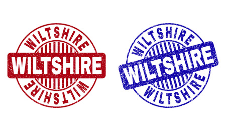 Grunge WILTSHIRE round stamp seals isolated on a white background. Round seals with grunge texture in red and blue colors. Vector rubber watermark of WILTSHIRE caption inside circle form with stripes. Illustration