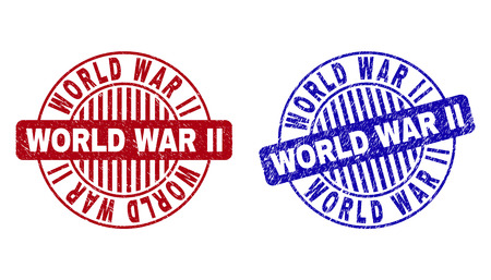 Grunge WORLD WAR II round stamp seals isolated on a white background. Round seals with grunge texture in red and blue colors.