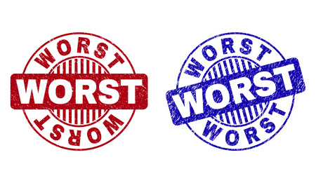 Grunge WORST round stamp seals isolated on a white background. Round seals with distress texture in red and blue colors. Vector rubber imprint of WORST title inside circle form with stripes.