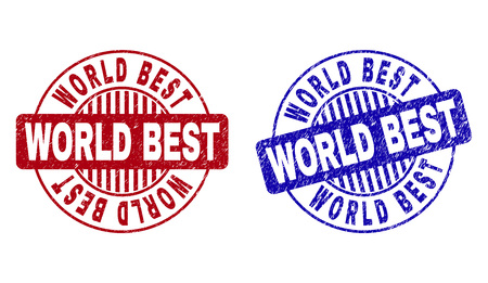 Grunge WORLD BEST round stamp seals isolated on a white background. Round seals with grunge texture in red and blue colors. Vector rubber imitation of WORLD BEST label inside circle form with stripes.