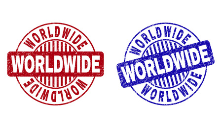Grunge WORLDWIDE round stamp seals isolated on a white background. Round seals with grunge texture in red and blue colors. Vector rubber overlay of WORLDWIDE tag inside circle form with stripes. Vektorové ilustrace