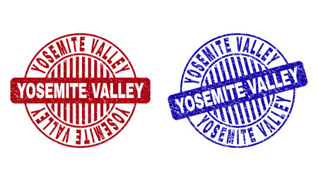 Grunge YOSEMITE VALLEY round stamp seals isolated on a white background. Round seals with grunge texture in red and blue colors. Ilustrace