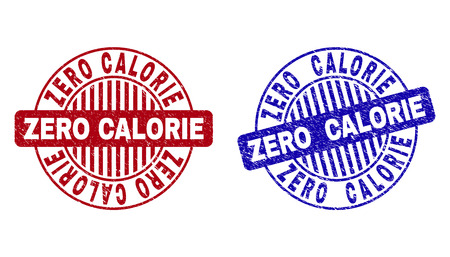 Grunge ZERO CALORIE round stamps isolated on a white background. Round seals with grunge texture in red and blue colors. Vector rubber watermark of ZERO CALORIE title inside circle form with stripes.