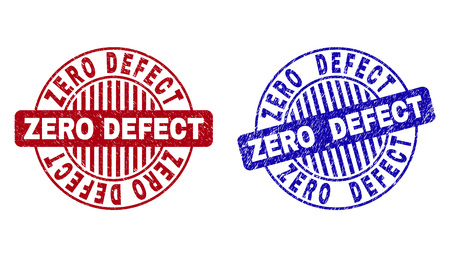 Grunge ZERO DEFECT round stamp seals isolated on a white background. Round seals with grunge texture in red and blue colors. Ilustração