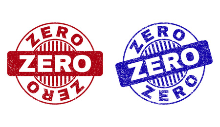 Grunge ZERO round stamp seals isolated on a white background. Round seals with grunge texture in red and blue colors. Vector rubber watermark of ZERO title inside circle form with stripes. Vector Illustration