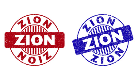 Grunge ZION round stamp seals isolated on a white background. Round seals with grunge texture in red and blue colors. Vector rubber overlay of ZION tag inside circle form with stripes.