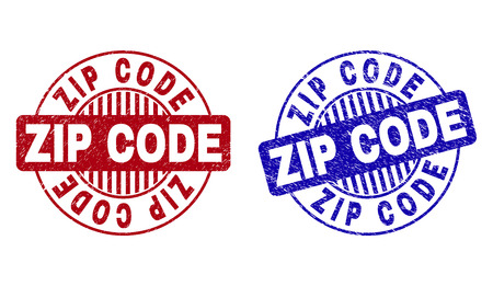 Grunge ZIP CODE round stamp seals isolated on a white background. Round seals with grunge texture in red and blue colors. Vector rubber overlay of ZIP CODE caption inside circle form with stripes.
