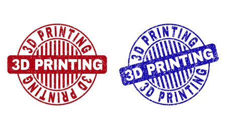 Grunge 3D PRINTING round stamp seals isolated on a white background. Round seals with grunge texture in red and blue colors. Vector rubber overlay of 3D PRINTING text inside circle form with stripes. Illustration