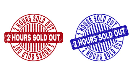 Grunge 2 HOURS SOLD OUT round stamp seals isolated on a white background. Round seals with grunge texture in red and blue colors.