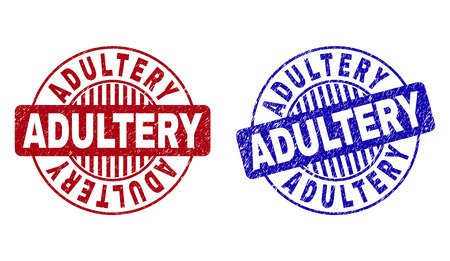 Grunge ADULTERY round stamps isolated on a white background. Round seals with grunge texture in red and blue colors. Vector rubber imitation of ADULTERY tag inside circle form with stripes. Illustration