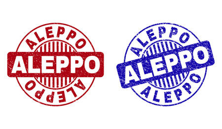 Grunge ALEPPO round stamp seals isolated on a white background. Round seals with grunge texture in red and blue colors. Vector rubber overlay of ALEPPO title inside circle form with stripes.