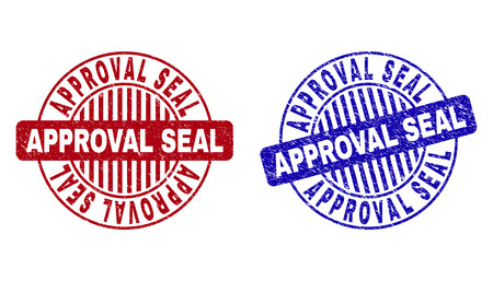 Grunge APPROVAL SEAL round stamp seals isolated on a white background. Round seals with grunge texture in red and blue colors.