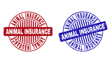 Grunge ANIMAL INSURANCE round stamp seals isolated on a white background. Round seals with grunge texture in red and blue colors.