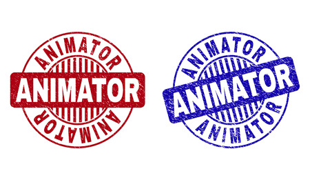 Grunge ANIMATOR round stamp seals isolated on a white background. Round seals with grunge texture in red and blue colors. Vector rubber imprint of ANIMATOR label inside circle form with stripes.
