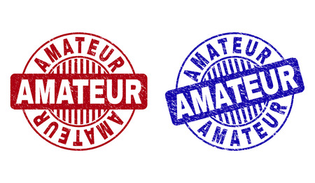 Grunge AMATEUR round stamp seals isolated on a white background. Round seals with grunge texture in red and blue colors. Vector rubber overlay of AMATEUR text inside circle form with stripes. Illustration