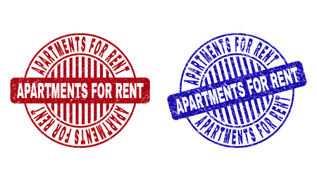 Grunge APARTMENTS FOR RENT round stamp seals isolated on a white background. Round seals with grunge texture in red and blue colors. Illustration