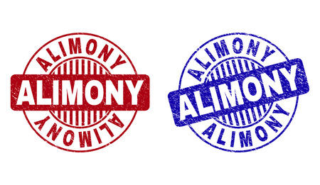 Grunge ALIMONY round stamp seals isolated on a white background. Round seals with grunge texture in red and blue colors. Vector rubber watermark of ALIMONY caption inside circle form with stripes.