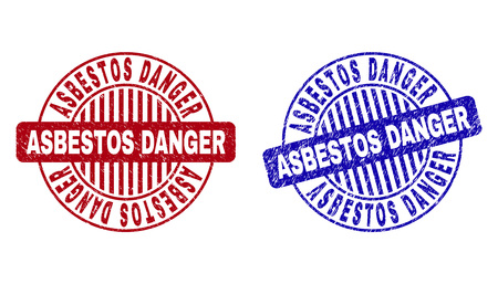 Grunge ASBESTOS DANGER round stamp seals isolated on a white background. Round seals with distress texture in red and blue colors.