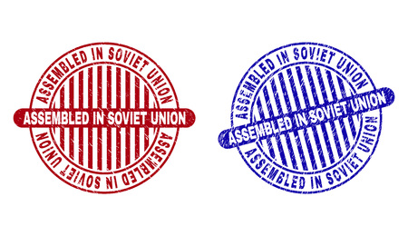 Grunge ASSEMBLED IN SOVIET UNION round stamp seals isolated on a white background. Round seals with grunge texture in red and blue colors. Vetores