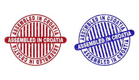 Grunge ASSEMBLED IN CROATIA round stamp seals isolated on a white background. Round seals with grunge texture in red and blue colors.