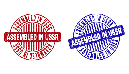 Grunge ASSEMBLED IN USSR round stamp seals isolated on a white background. Round seals with grunge texture in red and blue colors.