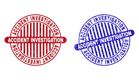 Grunge ACCIDENT INVESTIGATION round stamp seals isolated on a white background. Round seals with grunge texture in red and blue colors.