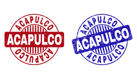 Grunge ACAPULCO round stamp seals isolated on a white background. Round seals with grunge texture in red and blue colors. Vector rubber watermark of ACAPULCO tag inside circle form with stripes. Illustration
