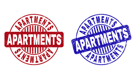 Grunge APARTMENTS round stamp seals isolated on a white background. Round seals with distress texture in red and blue colors. Vector rubber watermark of APARTMENTS tag inside circle form with stripes.