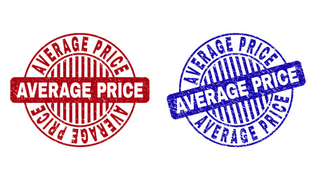 Grunge AVERAGE PRICE round stamp seals isolated on a white background. Round seals with grunge texture in red and blue colors. Ilustração