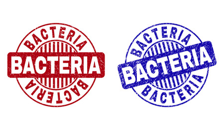 Grunge BACTERIA round stamp seals isolated on a white background. Round seals with grunge texture in red and blue colors. Vector rubber overlay of BACTERIA caption inside circle form with stripes.