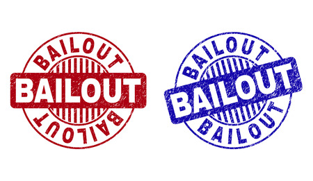 Grunge BAILOUT round stamp seals isolated on a white background. Round seals with grunge texture in red and blue colors. Vector rubber overlay of BAILOUT text inside circle form with stripes.