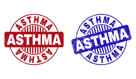 Grunge ASTHMA round stamp seals isolated on a white background. Round seals with distress texture in red and blue colors. Vector rubber watermark of ASTHMA text inside circle form with stripes. Illustration