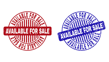 Grunge AVAILABLE FOR SALE round stamp seals isolated on a white background. Round seals with grunge texture in red and blue colors.