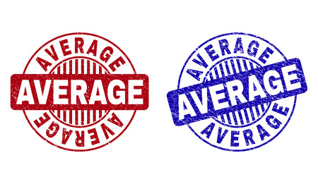 Grunge AVERAGE round stamp seals isolated on a white background. Round seals with grunge texture in red and blue colors. Vector rubber imprint of AVERAGE caption inside circle form with stripes.