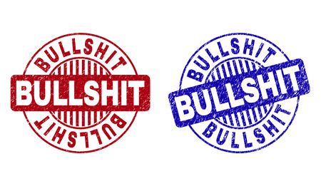 Grunge BULLSHIT round stamp seals isolated on a white background. Round seals with grunge texture in red and blue colors. Vector rubber imprint of BULLSHIT label inside circle form with stripes.
