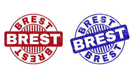 Grunge BREST round stamp seals isolated on a white background. Round seals with grunge texture in red and blue colors. Vector rubber imitation of BREST label inside circle form with stripes.