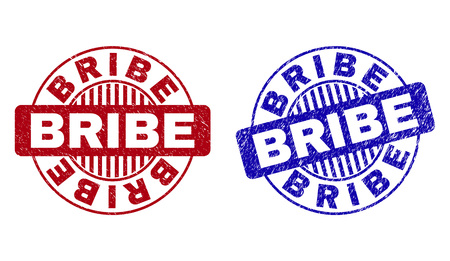 Grunge BRIBE round stamp seals isolated on a white background. Round seals with grunge texture in red and blue colors. Vector rubber watermark of BRIBE label inside circle form with stripes.