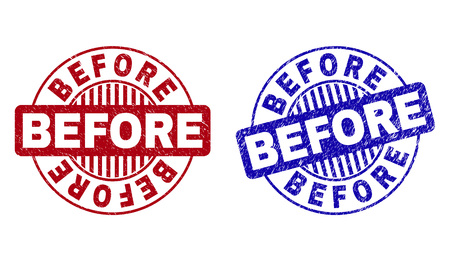 Grunge BEFORE round stamp seals isolated on a white background. Round seals with grunge texture in red and blue colors. Vector rubber overlay of BEFORE label inside circle form with stripes.