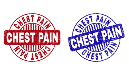 Grunge CHEST PAIN round stamp seals isolated on a white background. Round seals with grunge texture in red and blue colors. Vector rubber imitation of CHEST PAIN title inside circle form with stripes.