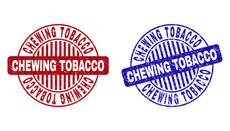 Grunge CHEWING TOBACCO round stamp seals isolated on a white background. Round seals with grunge texture in red and blue colors. Çizim
