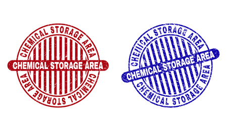 Grunge CHEMICAL STORAGE AREA round stamp seals isolated on a white background. Round seals with distress texture in red and blue colors.